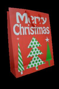 Punga pentru cadouri rosie cu brad - Design Merry Christmas [0]