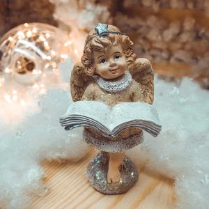 Figurina decorativa din rasina- Ingeras cu carte0