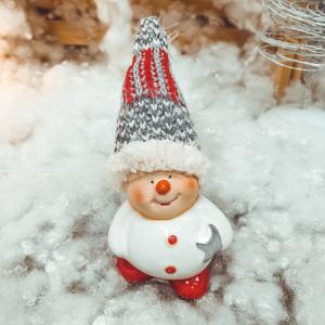 Figurina realizata din ceramica reprezentand un om de zapada ideala pentru decoratiunea de sarbatoare [0]