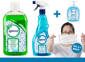 Pachet Dezinfectant Universal Igienol, 1L + Dezinfectant suprafete Igienol, 750ml + 5 x Masca reutilizabila + sapun Lichid 300ml1