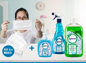 Pachet Dezinfectant Universal Igienol, 1L + Dezinfectant suprafete Igienol, 750ml + 5 x Masca reutilizabila + sapun Lichid 300ml2