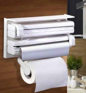 Dispenser triplu de bucatarie pentru rola de hartie, folie de aluminiu si folie alimentara, Alb [0]