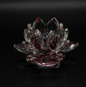 Floare de lotus Rosie din cristal de sticla - 8cm0