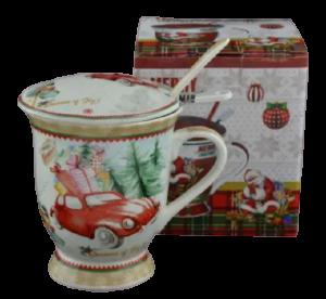 Cana de craciun realizata din ceramica cu capac si strecurator – Design masina cu cadouri