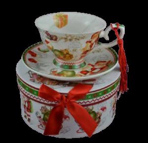 Set cana de craciun cu farfurie realizata din ceramica in cutie cadou – Design Mos Craciun1