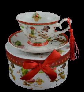 Set cana de craciun cu farfurie realizata din ceramica in cutie cadou – Design om de zapada1