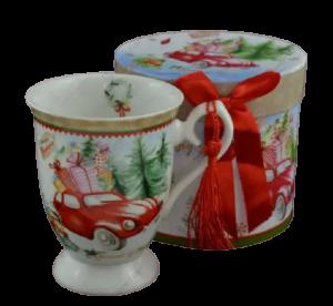 Cana de craciun realizata din ceramica in cutie cadou – Design masina cu cadouri1