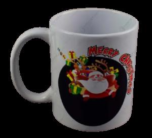 "Cana de craciun termosensibila realizata din ceramica – Design cu Mos Craciun si mesajul ""Merry Christmas""1"