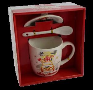 Set cana de craciun cu farfurie si lingura realizata din ceramica in cutie – Design Craciun