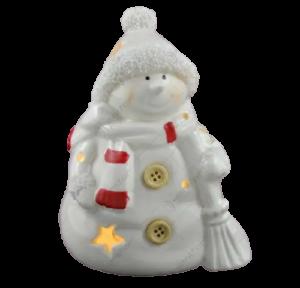 Figurina decorativa cu led realizata din ceramica in forma de om de zapada – Design cu stelute1