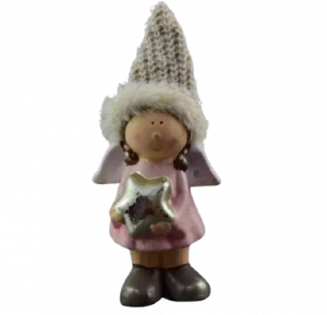 Figurina decorativa pentru Craciun realizata din ceramica si material textil – Copil1