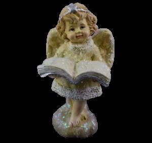 Figurina decorativa din rasina- Ingeras cu carte1