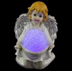 Figurina decorativa realizata din ceramica – Inger – Argintiu – Cu LED1