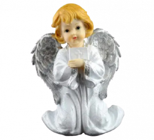 Figurina decorativa realizata din ceramica – Inger – Argintiu 24CM1