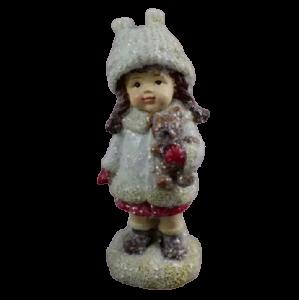 Figurina decorativa pentru Craciun realizata din ceramica – Copil cu cadou