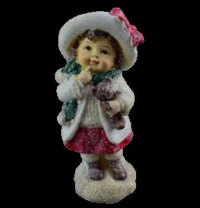 Figurina decorativa pentru Craciun realizata din ceramica – Copil cu ursulet1