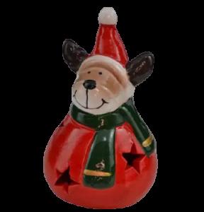 Figurina decorativa realizata din ceramica – Ren cu caciula si fular 10 cm
