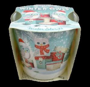 Lumanare parfumata in pahar de Craciun – Winter Owls