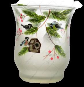 Candela realizata din sticla – Design cu crengi de brad si bobite1