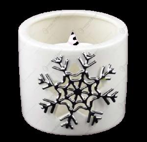 Candela cilindrica realizata din ceramica – Design fulg de nea1