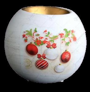 Suport in forma de glob pentru lumanare realizat din ceramica – Design cu glob si ghirlanda1