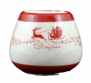 Candela rotunda realizata din ceramica – Design Mos Craciun [2]