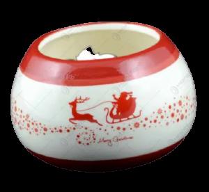 Candela rotunda realizata din ceramica – Design Mos Craciun1