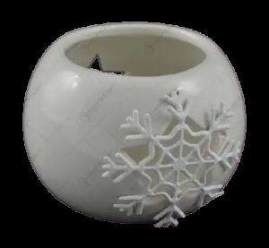 Candela rotunda realizata din ceramica – Design fulg de nea (Diverse culori)1