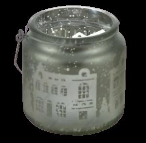 Candela cu maner realizata din sticla – Design cu peisaj de iarna1