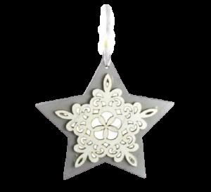Decoratiune pentru geam realizata din lemn – Forma Inima/Stea – Argintiu
