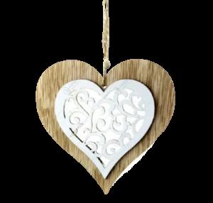Decoratiune pentru geam realizata din lemn – Forma Inima/Clopotel – Culoare naturala [1]