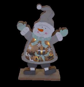 Decoratiune pentru masa cu led realizata din lemn in forma de om de zapada – Design cu lumanare si fulgi de nea1