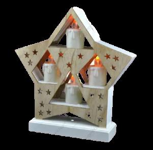 Ornament de craciun – Suport de culoare naturala in forma de stea cu 4 lumanari led albe