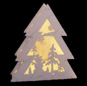 Decoratiune pentru craciun realizata din lemn si dotata cu LED – Design Brad