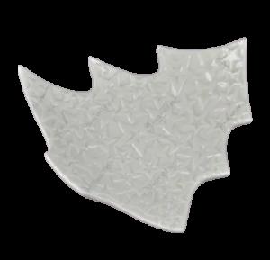 Platou alb in forma de brad decorat cu cu stele realizat din ceramica (20cm)