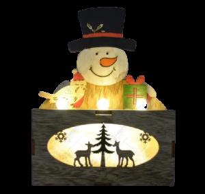 Ornament cu led realizat din lemn - Om de zapada2