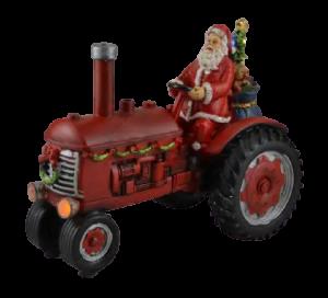 Decoratiune muzicala cu led pentru sarbatorile de iarna realizata din rasina – Mos Craciun cu cadouri in tractor0