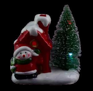 Decoratiune realizata din ceramica pentru Craciun cu lumini led – Casuta cu brad si om de zapada1