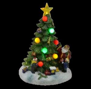 Decoratiune cu led realizata din rasina in forma de brad – Design cu globuri colorate si figurine1