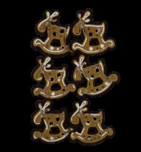 Set 6 cleme decorative in forma ren de turta dulce