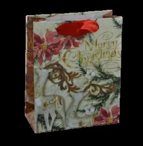 """Punga pentru cadouri medie – Design cu floare craciunita si inscriptia """"Merry Christmas"""""""