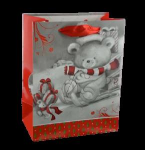 Punga pentru cadouri – Design cu ursulet pe sanie