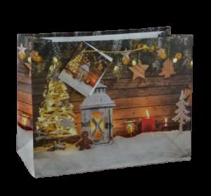 Punga pentru cadouri – Design cu zapada. lumanari si decoratiuni pentru Craciun1