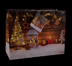 Punga pentru cadouri – Design cu zapada. lumanari si decoratiuni pentru Craciun0