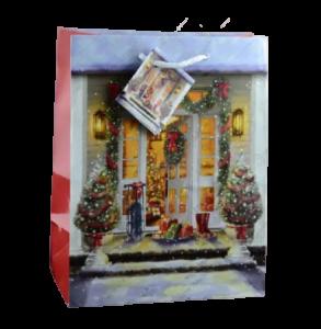 Punga pentru cadou decorata cu peisaj de craciun – Design craciun – Medie