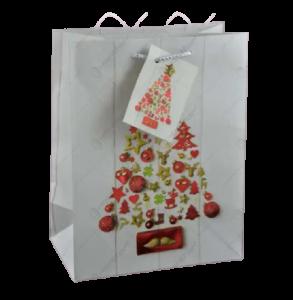 Punga pentru cadouri medie – Design cu brad de Craciun