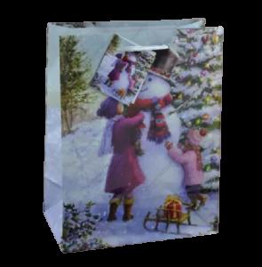 Punga pentru cadouri – Design cu om de zapada si brad impodobit