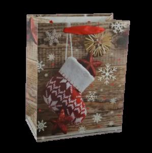 Punga pentru cadouri medie – Design cu fulgi zapada