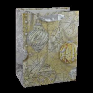 Punga pentru cadouri – Design cu brazi impodobiti cu pene de paun