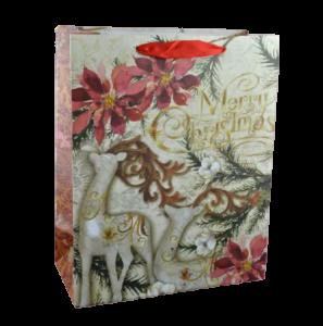 """Punga pentru cadouri – Design cu floare craciunita si inscriptia """"Merry Christmas"""""""